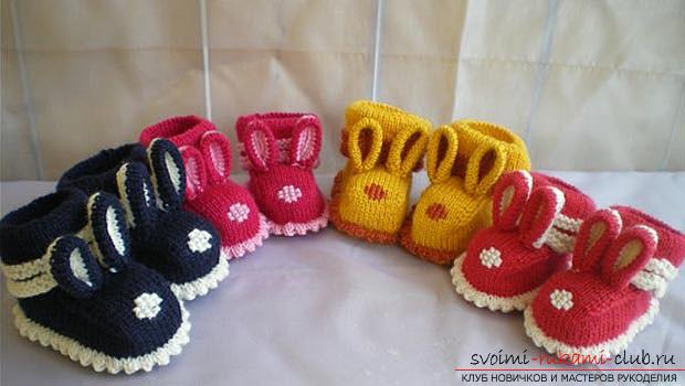 Unique baby booties with knitting needles for children. Photo №1