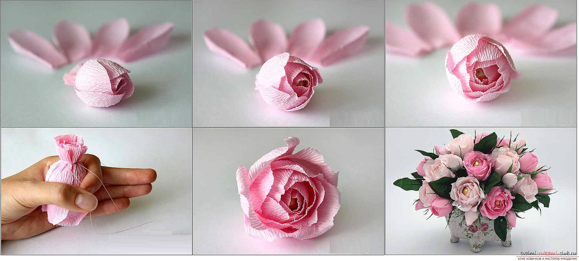 Een snoepboeket met rozen maken, stapsgewijze foto's en instructies voor het maken van rozen van golfpapier met snoephartjes. Fotonummer 11