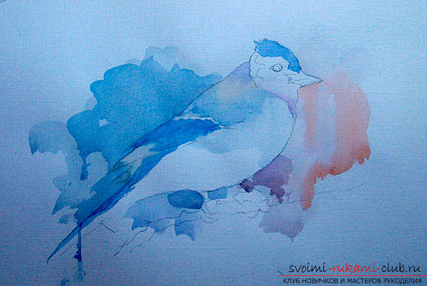 Drawing a watercolor bird. Photo # 2