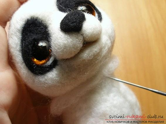 Felting panda out of wool for beginners, master class and photography. Photo №4