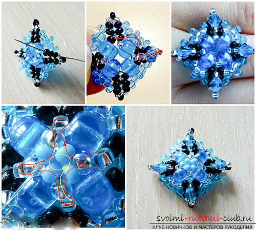 Free master classes with step-by-step photos on weaving of earrings from beads .. Picture №3