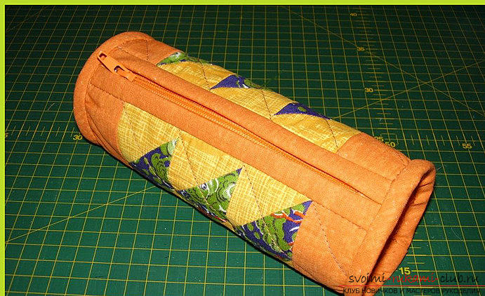 Sewing a pencil case using the Japanese patchwork technique. Photo # 23