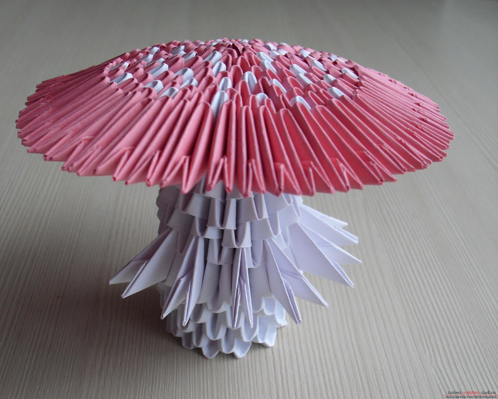This master class will teach how to make a modular origami - a fly agaric mushroom .. Photo # 1