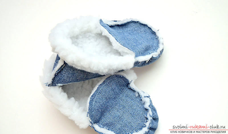 A pattern of children's fur slippers made of sheepskin. Photo №1
