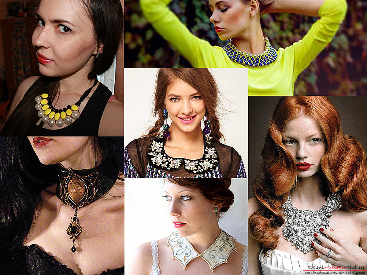 Massive necklace of felt with large crystals - how to make this stylish accessory with your own hands. Photo №1