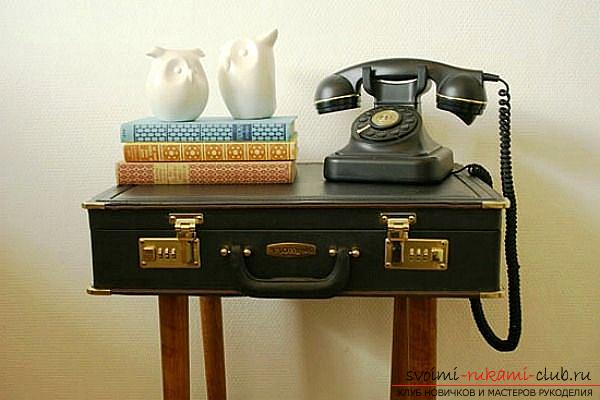 Decorative interior items that make of the old suitcase with their own hands .. Photo # 1