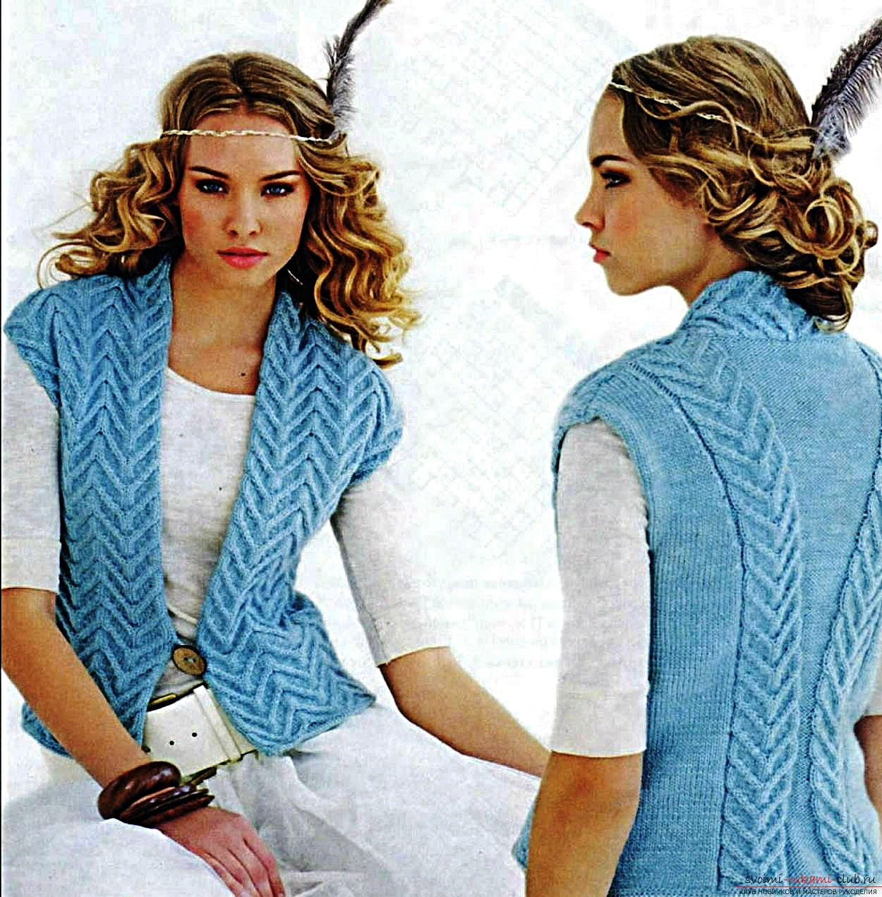 knitted blue vest for women with a braid pattern. Photo # 2