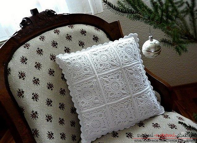 How to tie a pillow crochet, charts and a detailed description of the work, photos of finished products .. Photo # 4