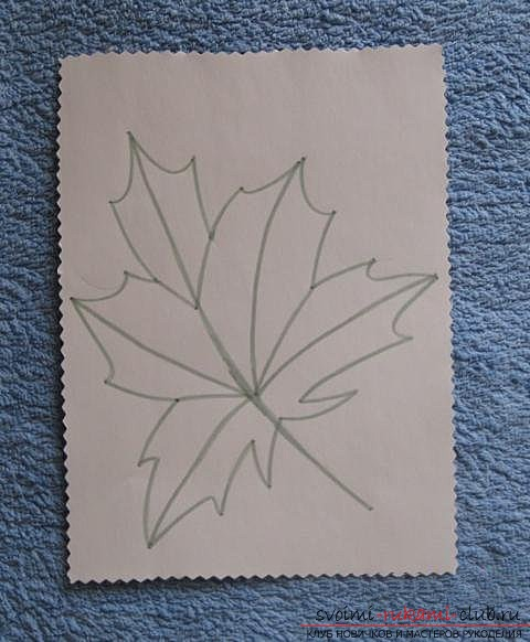 """We embroider the autumn leaf in the technique of """"isolate"""". Picture №10"""