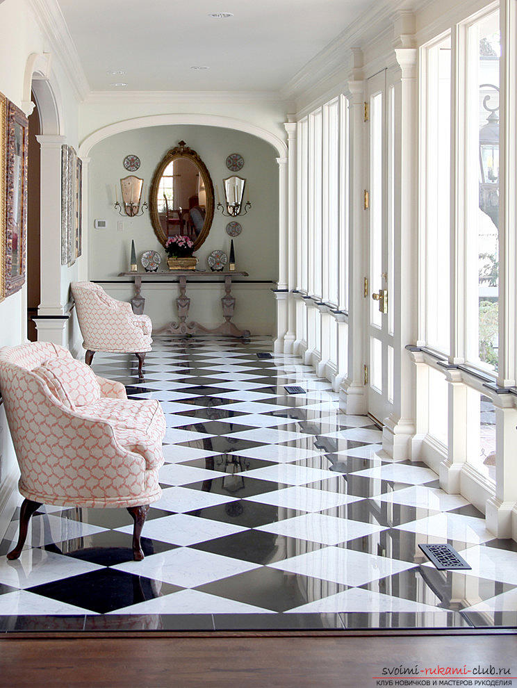 Tiles on the floor, how to lay ceramic tiles on the floor with their own hands, the original floor design options .. Photo # 1
