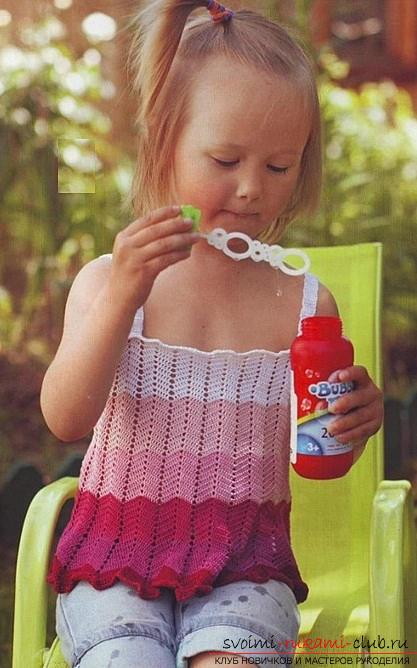 How to crochet a summer T-shirt for children of different ages with diagrams and descriptions .. Photo # 6
