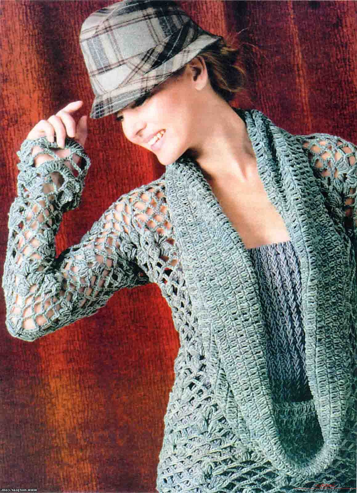 stylish free knitted cardigan for women. Picture №3