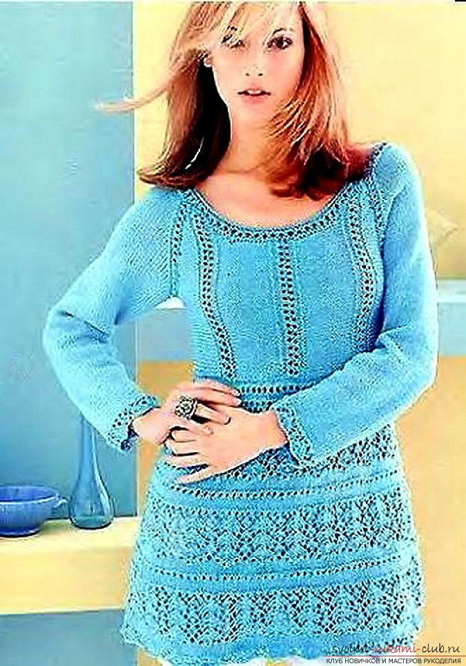 knitted knitting with an original female tunic. Photo # 2