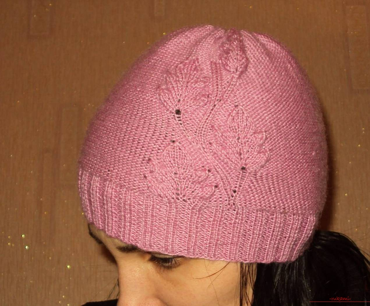 knitted needles original spring hat for women. Photo №4