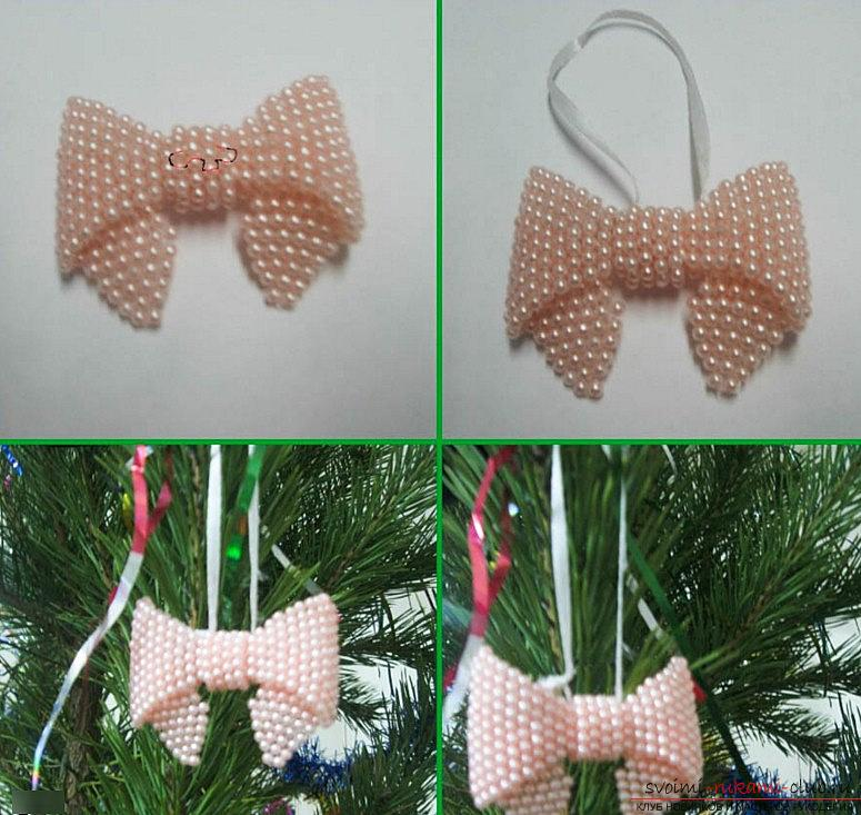 Christmas tree bow with own hands - a technique of weaving with beads and a master class. Photo №6