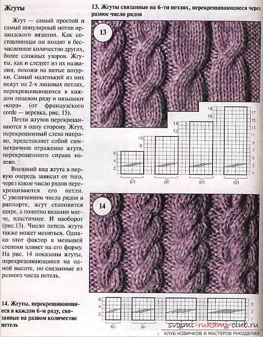 Схемы вязания кос на спицах 11