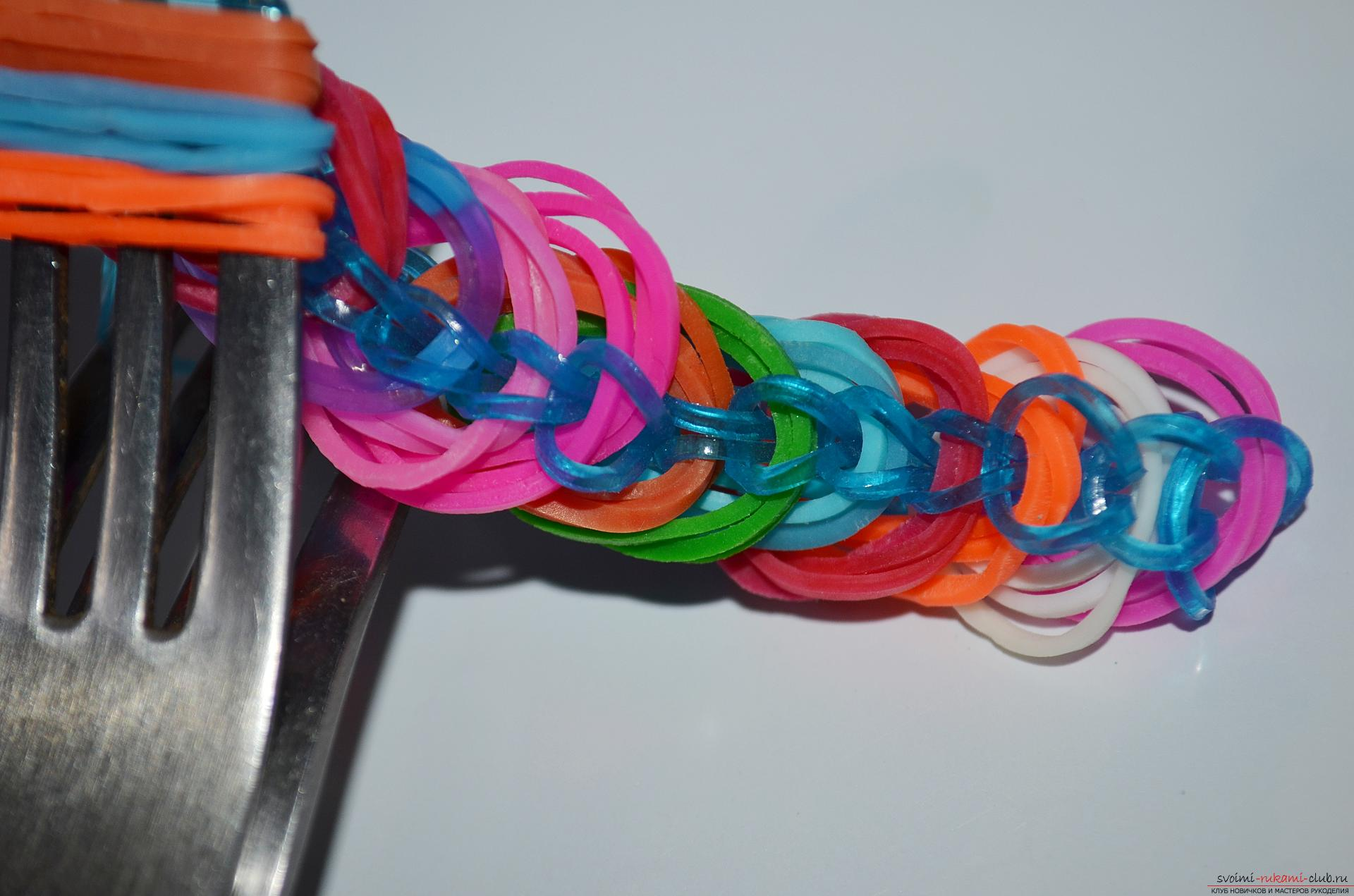 Photo for a lesson on braiding from a rubber band of a bracelet