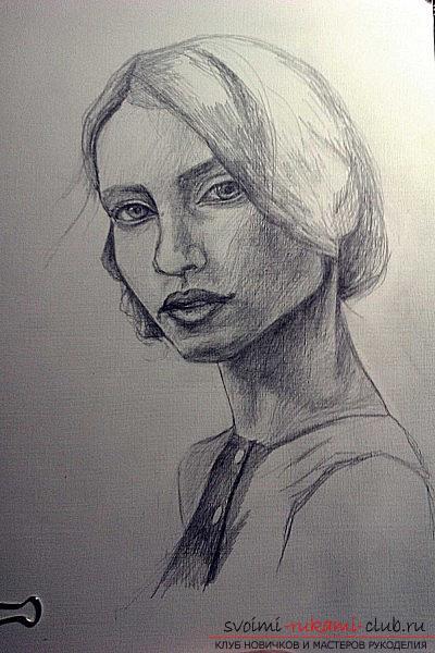 Stapsgewijze tekening van een portret van een meisje. Afbeelding №3