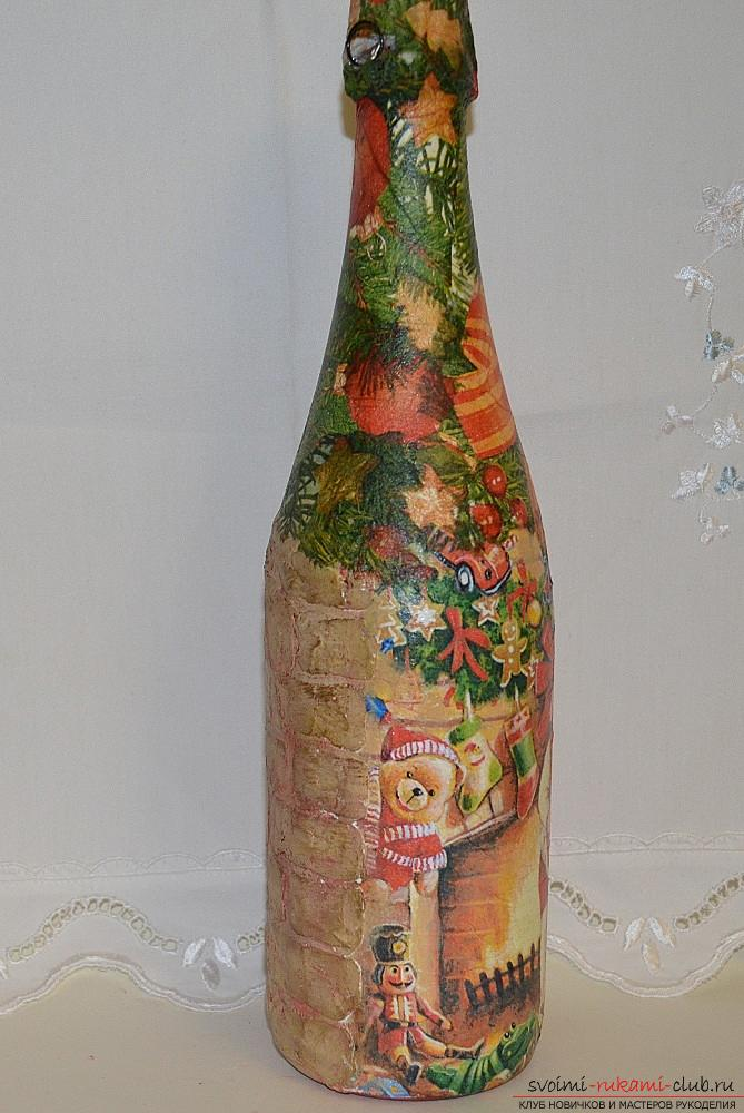 A master class with a description and a photo will teach how to make decoupage of a bottle of champagne with your own hands. Photo №1