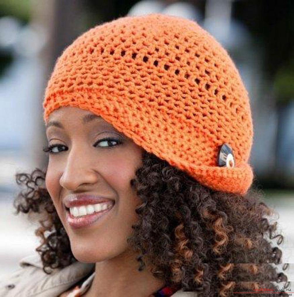 crocheted woolen fishnet hat. Photo №4