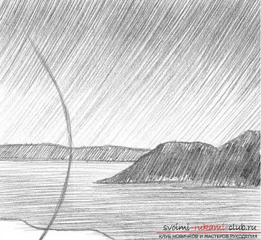 Drawing a simple landscape with a pencil in stages. Photo №4