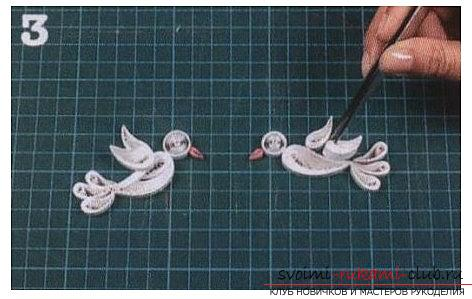 Pigeon of the world in the technique of quilling for wedding glasses - a master class. Photo №6