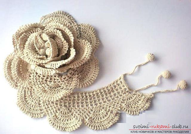 Schemes and a detailed description of how to crochet a three-dimensional and flat rose with their own hands .. Photo # 4