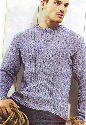 Elegant men's pullover with knitting needles. Photo №1