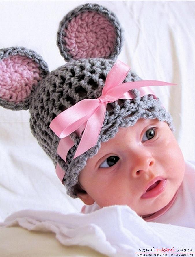 Crochet of beautiful plaids and hats for children up to one year old with diagrams, descriptions and photos .. Photo №14