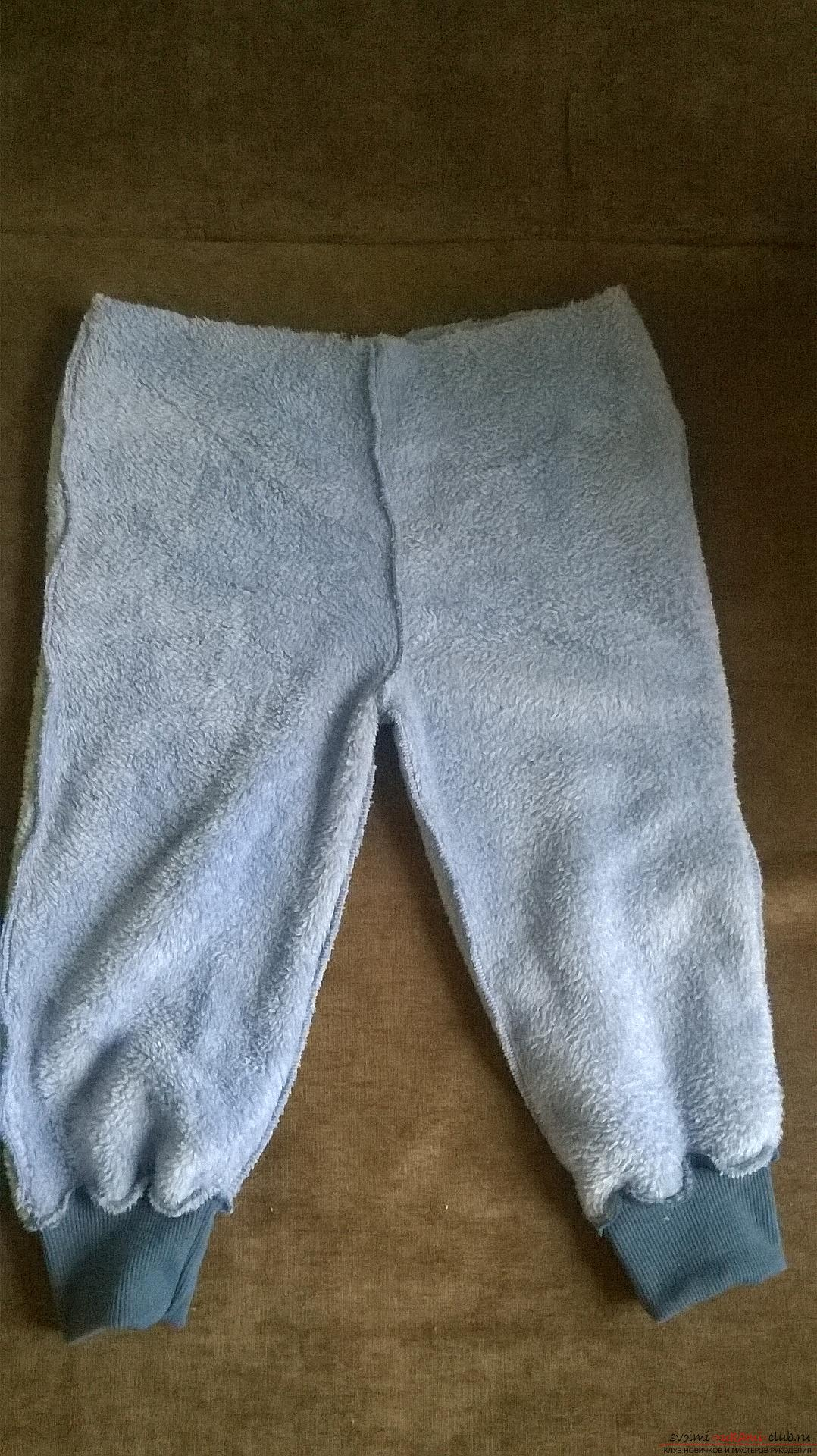 This article tells how to sew warm and comfortable pants for a boy on an elastic band. Photo №8