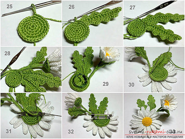 Free master class on knitting chamomile flowers with description and turn-based photos .. Picture №6