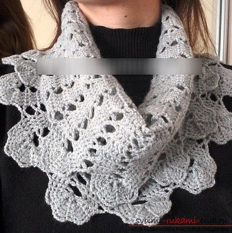 How to make a scarf-yoke using a hook and braid with your own hands ?. Photo №1