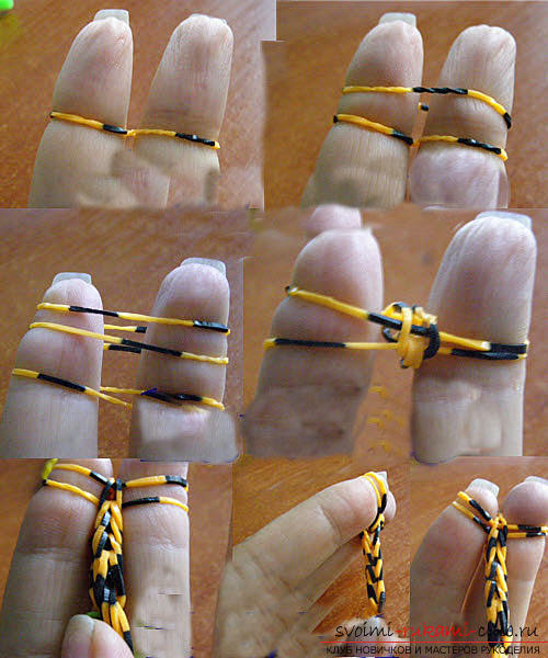 Learning to weave bracelet French braid from colored rubber with own hands photo. Picture №3