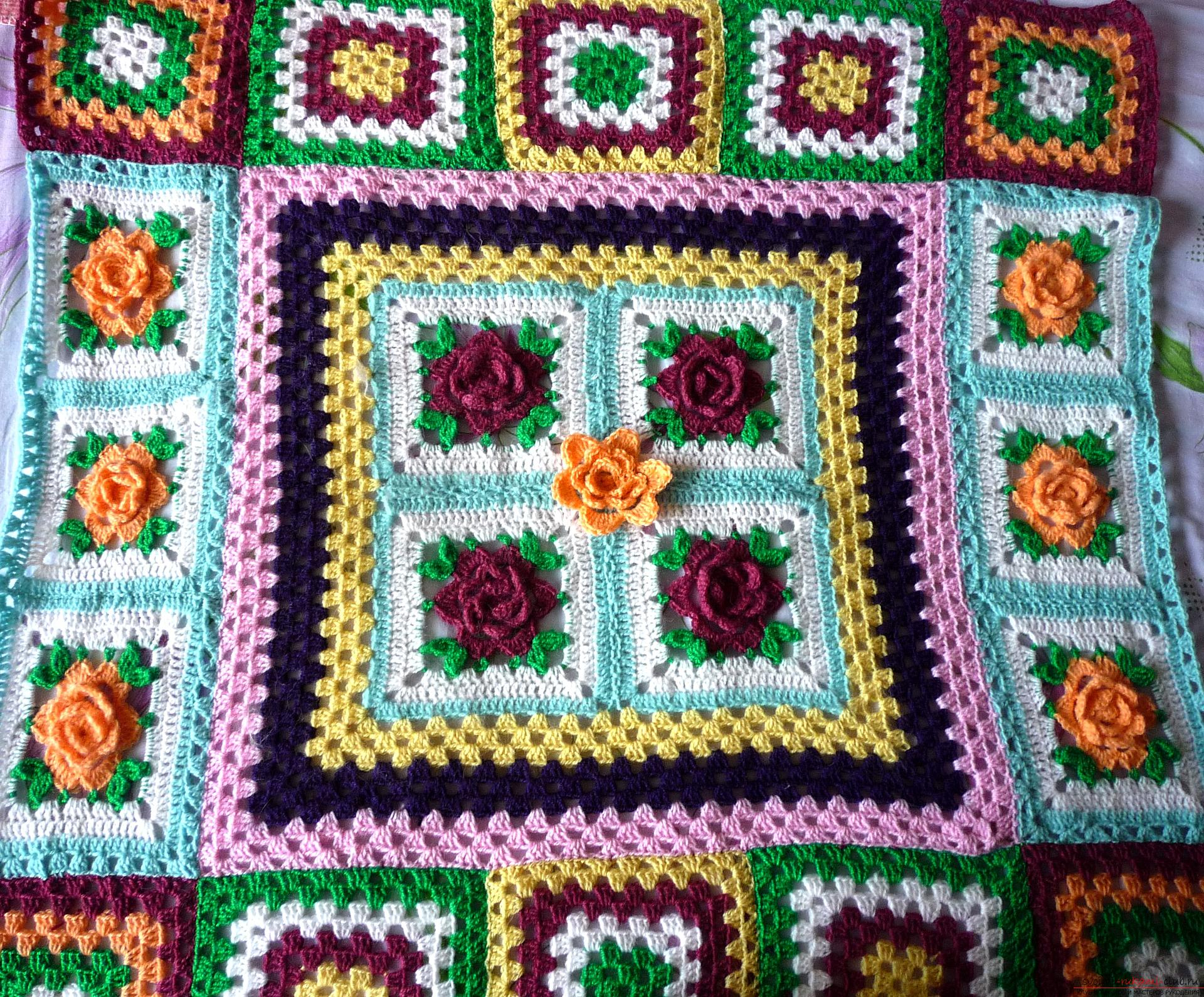 This crochet masterclass contains a crochet color scheme for the plaid .. Photo # 25