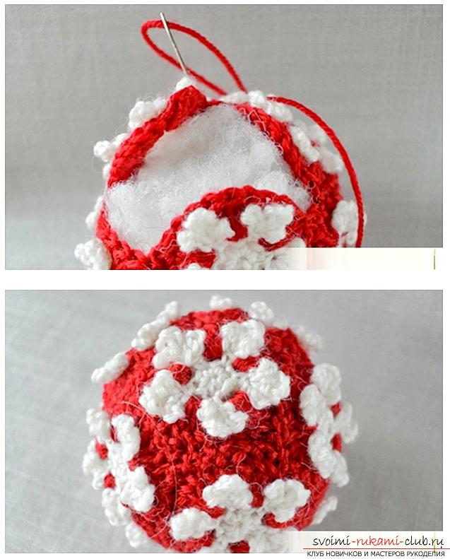 How to make Christmas toys with your own hands of dough, silicone sealant, tangerines and crochet and knitting, master classes with recipes and photos. Photo Number 14