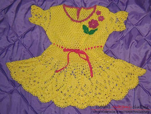 We knit a baby dress for a girl of two years according to the scheme and description. Photo №5