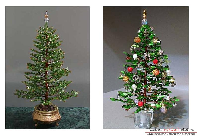 How to weave from beads and wire a New Year's, snow-covered or decorated Christmas tree with their own hands, step-by-step photos and a detailed description. Photo №6