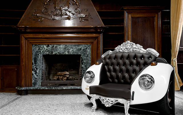 couch from car in baroque style