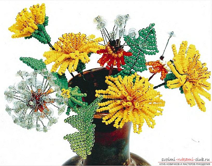 How to weave buds, flowers and leaves of dandelion, schemes and photos of beads. Photo №1