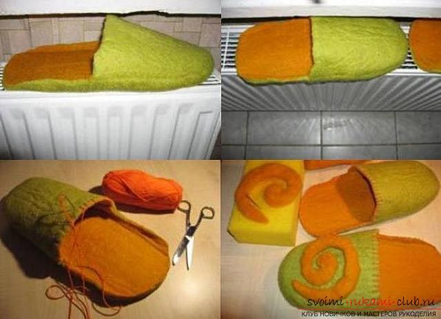 Як зробити домашні тапочки? майстер-клас для валяння. фото №5