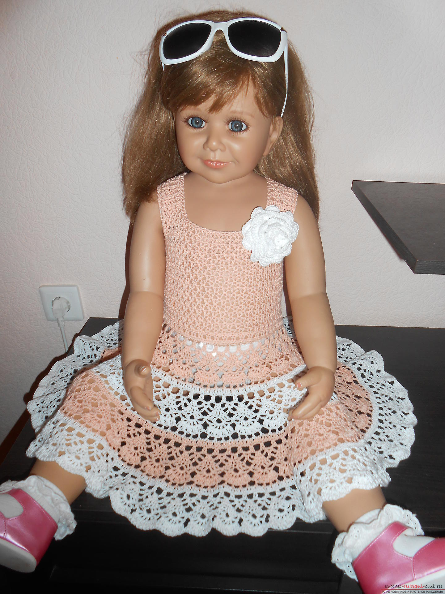 Gentle baby dress crocheted from cotton yarn Coco. Photo №1