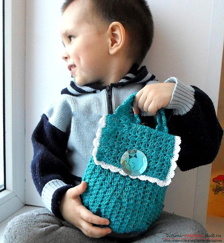 We knit the bag crocheted. Photo №1