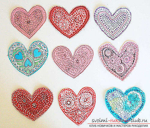 Gifts for Valentine's Day with their own hands, various variations of making Valentine's cards with their own hands, a magnet in the form of a heart as a gift to your beloved .. Photo №7