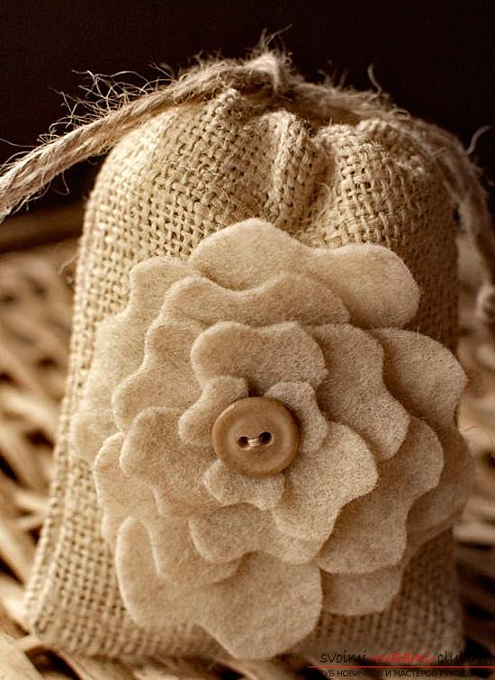 Step-by-step manufacturing of a decorative bag for coffee with your own hands using natural materials .. Photo # 8