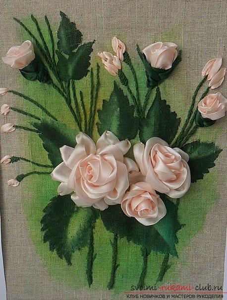 Embroidery with ribbons on a painted background. Photo №1