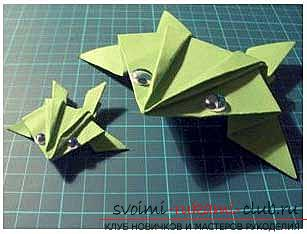 A simple frog lesson with your own hands for origami technique - how to make a frog ?. Photo №1