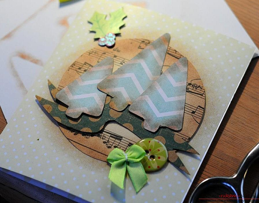 Master class on the scrapbooking of the New Year's card with your own hands - step by step instruction. Photo №6