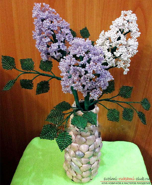 How to make a lilac branch of beads, step-by-step photos and a description of several weaving techniques for beaded floristics. Photo №7
