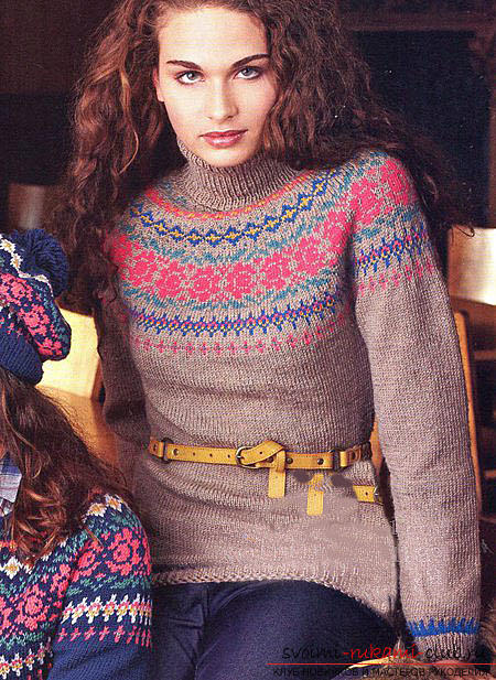 Tie a beautiful jacquard sweater pattern with knitting needles. Picture №3