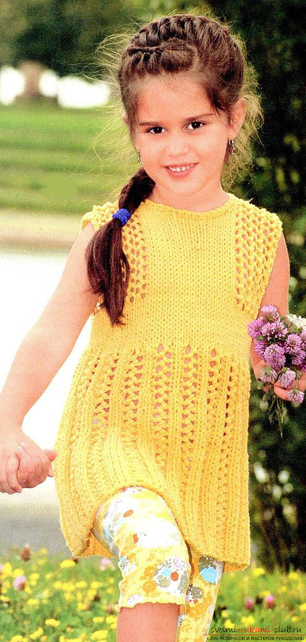 We knit a baby dress for a girl of two years according to the scheme and description. Photo №4